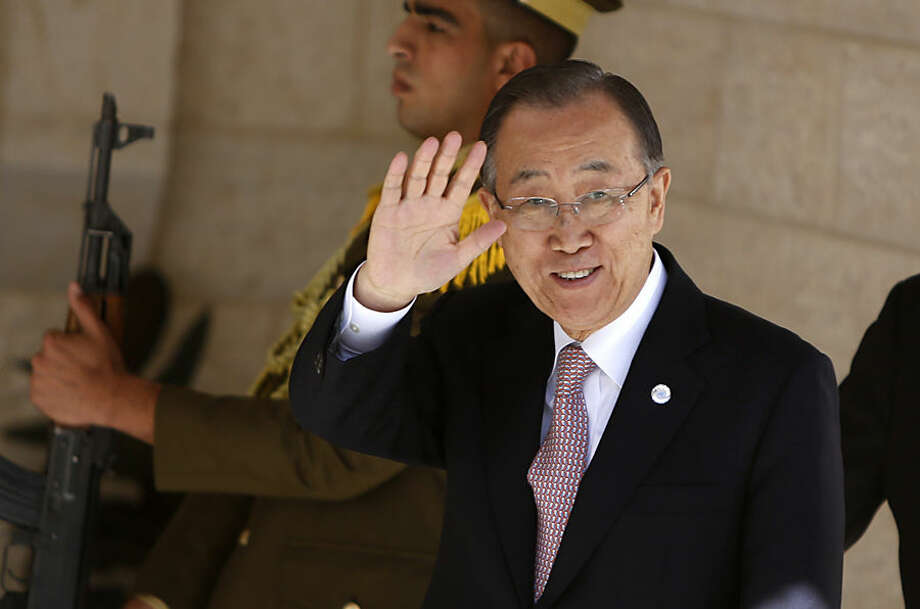 United Nations Secretary-General Ban Ki-moon arrives for a meeting with Palestinian President Mahmoud Abbas in the West Bank city of Ramallah, Wednesday, Oct. 21, 2015. Ban called for calm during a surprise visit to Jerusalem on Tuesday ahead of meetings with Israeli and Palestinian leaders, in a high-profile gambit to bring an end to a monthlong wave of violence. (AP Photo/Majdi Mohammed)