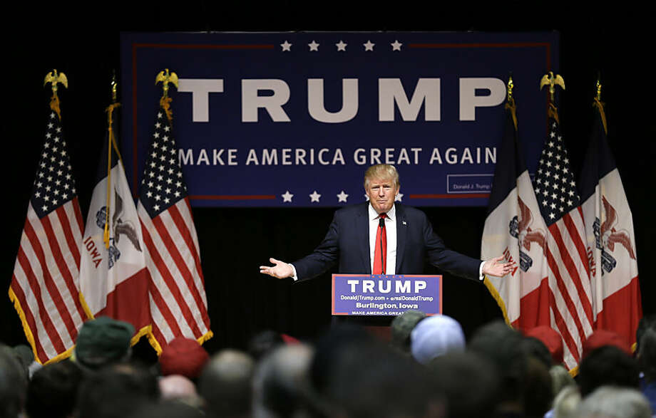 Republican presidential candidate Donald Trump speaks during a campaign stop at the Burlington Memorial Auditorium, Wednesday, Oct. 21, 2015, in Burlington, Iowa. (AP Photo/Charlie Neibergall)