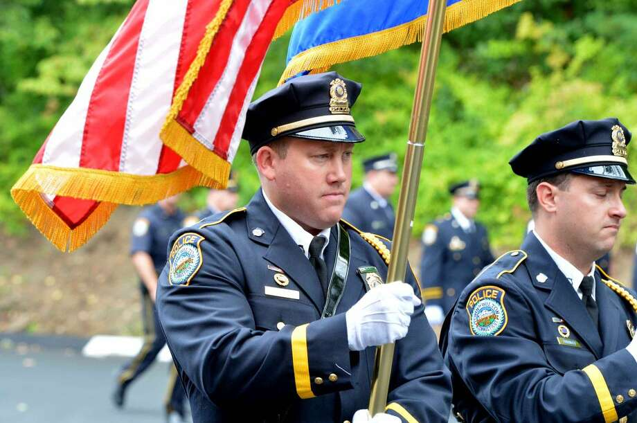 Hour Photo/Alex von Kleydorff Wilton Police Color Guard during Wilton's 13th Annual 9-11 Memorial Service at Wilton fire Headquarters