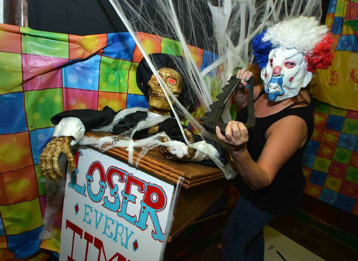 Hour Photo/Alex von Kleydorff If you have Coulrophobia, fear of clowns, then Claudette Quadrini cant help you at the St Philips Church Haunted House. The more than 60 Phobias are represented inside for this weekends event