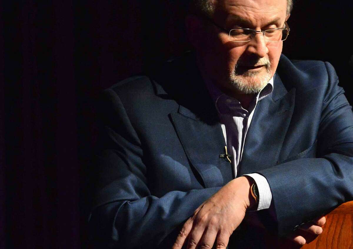 Hour Photo/Alex von Kleydorff Author SalmanRushdie speaks about his new book Two years Eight Months and Twenty-Eight Nights during the Westport Library's Malloy Lecture in the Arts series at Staples High School in Westport Connecticut Thursday night.