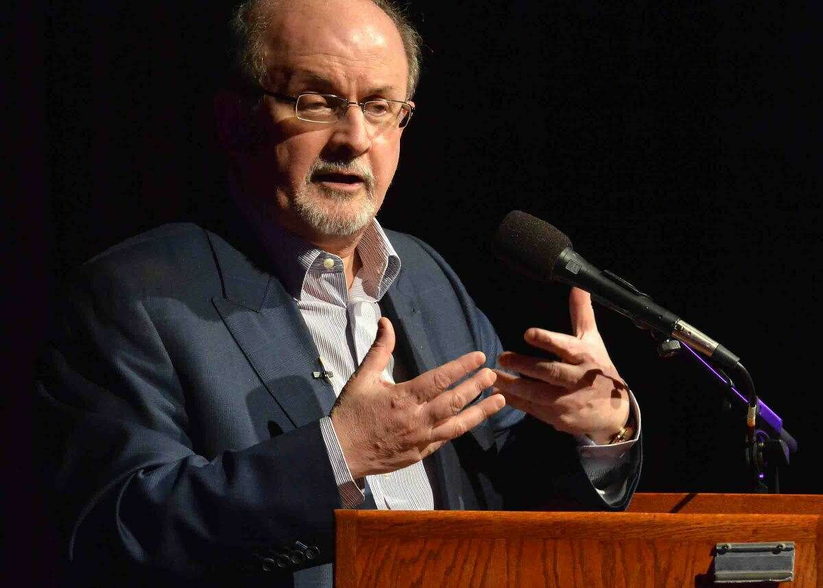 Hour Photo/Alex von Kleydorff Author SalmanRushdie speaks about his new book Two years Eight Months and Twenty-Eight Nights during the Westport Library's Malloy Lecture in the Arts series at Staples High School in Westport Thursday night.