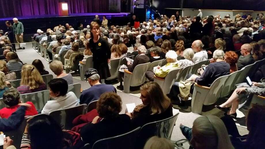 Hour Photo/Alex von KleydorffThe crowd atSalman Rushdie's talk at Staples High Thursday.