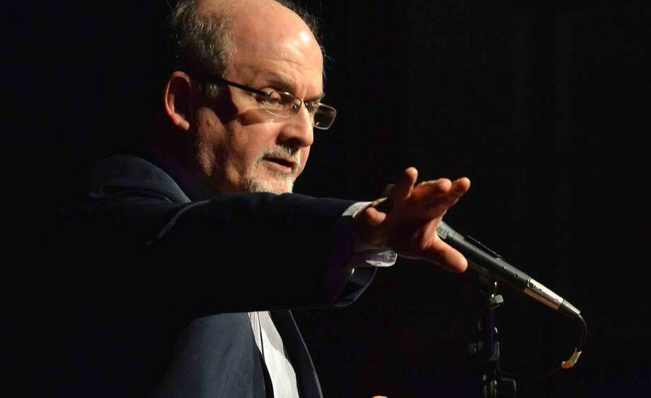 Hour Photo/Alex von Kleydorff. Author Salmon Rushdie speaks about his new book Two years Eight Months and Twenty-Eight Nights during the Westport Library's Malloy Lecture in the Arts series at Staples High School in Westport Thursday night