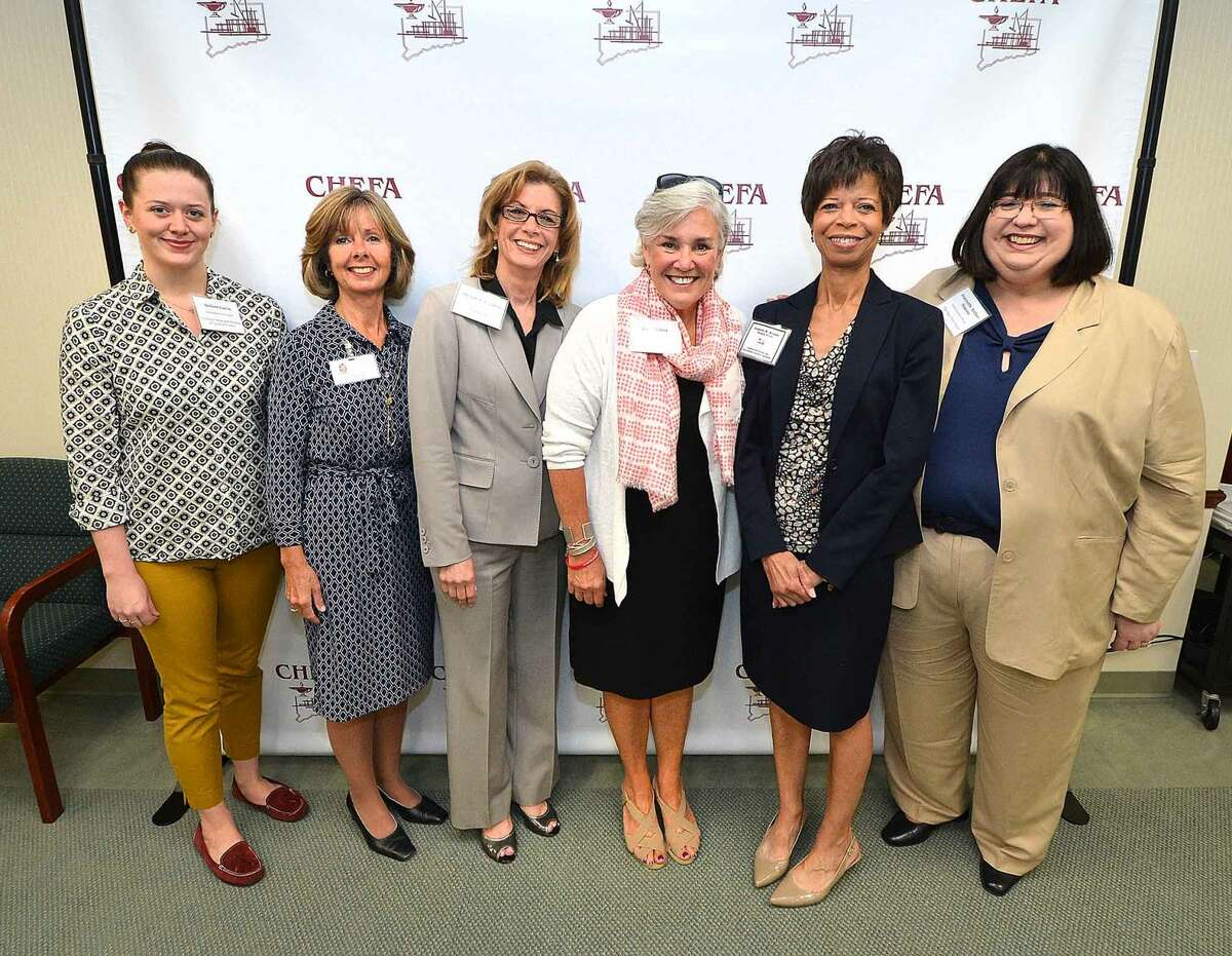 Hour Photo/Alex von Kleydorff l-r Alison Gavin and Sharon Bradley President and CEO with Visiting Nurse and Hospice of fairfield County , Denise Cesareo Executive Director Elderhouse, Ceci Maher, CEO, Person to Person, Jenette Wheldon, Managing Director CHEFA, Jeanette Archer-Simmons, Interim director open Door Shelter, recieve grants