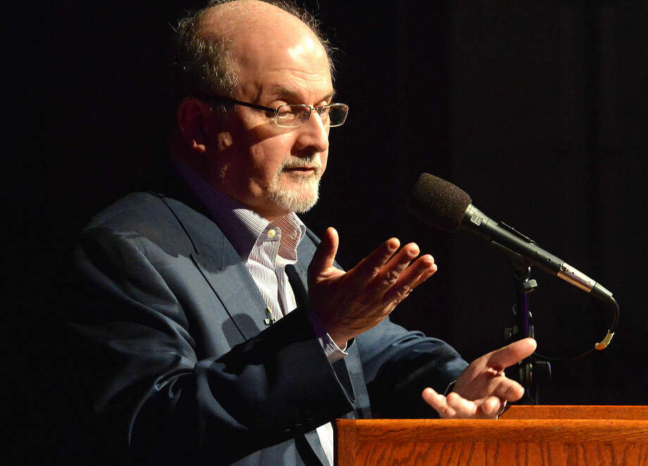Hour Photo/Alex von Kleydorff Author Salmon Rushdie speaks about his new book Two years Eight Months and Twenty-Eight Nights during the Westport Library's Malloy Lecture in the Arts series at Staples High School in Westport Connecticut Thursday night