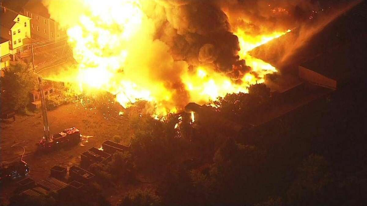 Courtesy of News 12 CT A Rowayton company was among the victims of a massive fire that destroyed a Bridgeport warehouse on Thursday night.