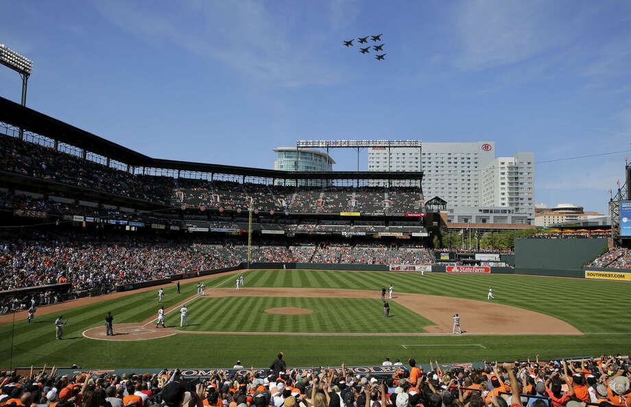 A formation of U.S. Navy Blue Angels flies a practice run over Oriole Park at Camden Yards in the first baseball game of a doubleheader between the Baltimore Orioles and the New York Yankees, Friday, Sept. 12, 2014, in Baltimore. (AP Photo/Patrick Semansky)