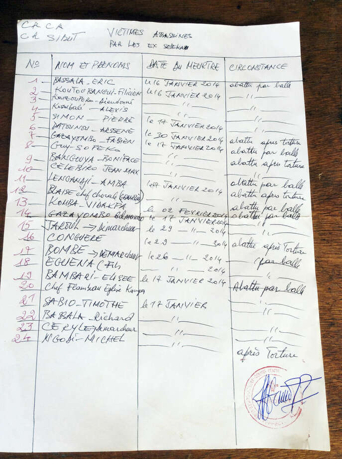 This Feb. 26, 2014, photo shows a handwritten list of the people slain in the town of Sibut by Muslim rebels from the Seleka alliance earlier this year as recorded by local Red Cross officials who collected the bodies and buried the dead. More than 5,000 people have died in sectarian violence in the Central African Republic since December, according to an Associated Press tally. (AP Photo/Krista Larson)