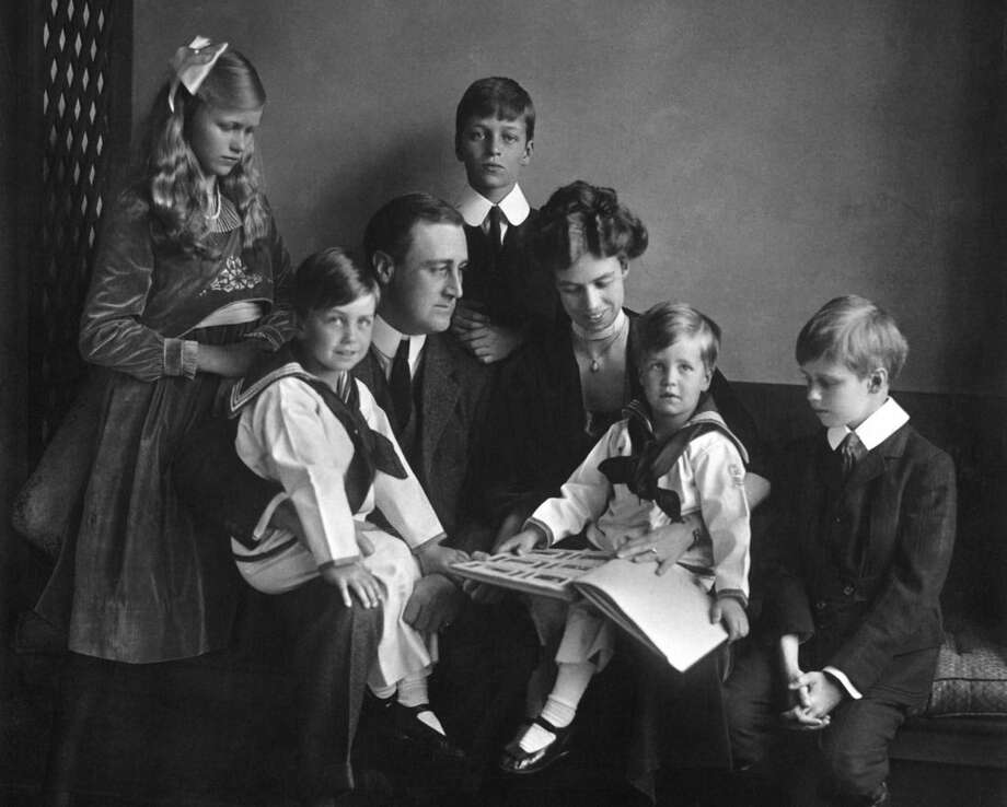 "In this June 12, 1919 photo provided by PBS, Franklin and Eleanor Roosevelt pose for a portrait with their children in Washington. Documentary filmmaker Ken Burns', ""The Roosevelts: An Intimate History,"" premieres on PBS as a seven-night, 14-hour extravaganza airing Sunday through Saturday (Sept. 14-20) at 8 p.m. EDT. (AP Photo/PBS, Franklin D. Roosevelt Presidential Library, Hyde Park, NY, Daniel J. White)"