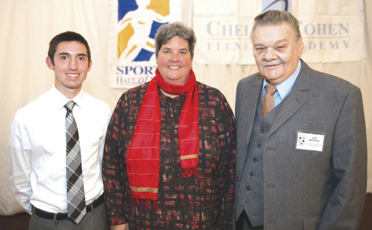 Hour photo/Chris Palermo The Fairfield County Sports Commission honored a host individuals at its annual Sports Night event on Monday, including Brien McMahon senior Eric van der Els, Norwalk's Sportsperson of the Year; Lisa Brummel of Westport, a Hall of Fame selection; and Leo Motyka of Norwalk, one of the Gonillo Media Award winners.
