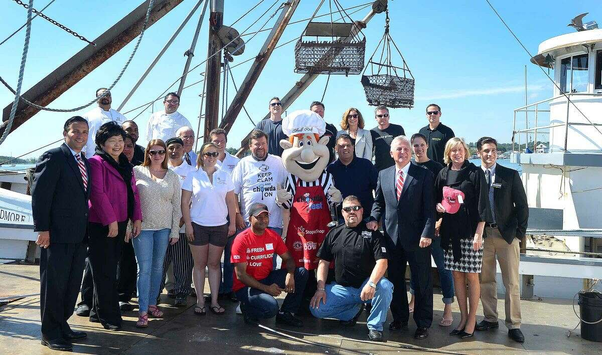 Hour Photo/Alex von Kleydorff City Officials, Chefs, event organizers and the mascot 'Chef Ref' gather on an Oyster Boat at Norm Bloom and Sons to launch Chowdafest coming to Norwalk this fall.