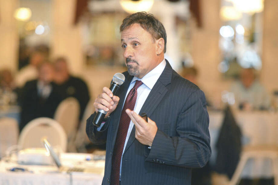 "Hour photo/Alex von KleydorffFormer Columbine (Colo.) High School Principal Frank D'Angelis speaks during a ""Regional Active Shooter Seminar"" at Continental Manor in Norwalk on Monday."
