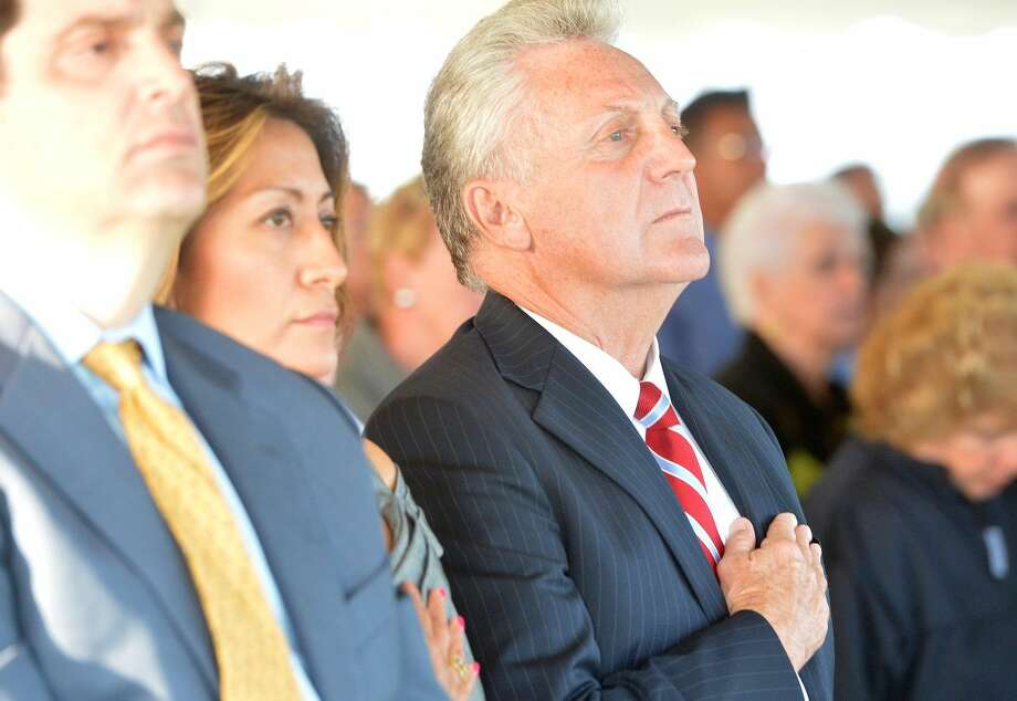 Hour Photo/Alex von Kleydorff. Norwalk Mayor Harry Rilling during the Connecticut Remembers September 11th Memorial Ceremony at Sherwood Island state Park, Wednesday evening