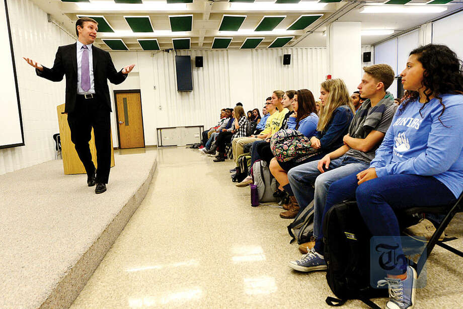 Hour photo / Erik Trautmann US Senator Chris Murphy (D-CT) talks to the Norwalk High School Future Business Leaders of America Club to highlight the importance of innovation and entrepreneurship and share career advice Thursday at the school.