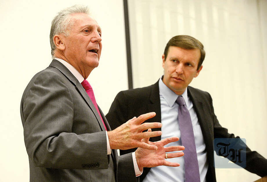 Hour photo / Erik Trautmann Mayor Harry Rilling and US Senator Chris Murphy (D-CT) talk to the Norwalk High School Future Business Leaders of America Club to highlight the importance of innovation and entrepreneurship and share career advice Thursday at the school.