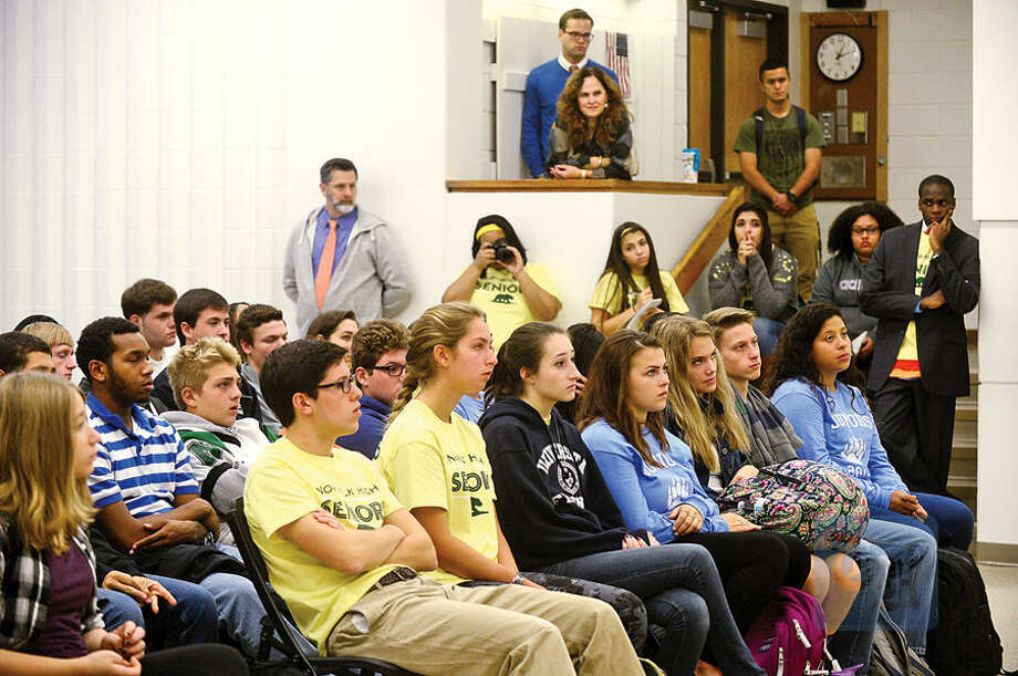 Hour photo / Erik Trautmann The Norwalk High School Future Business Leaders of America Club listen to US Senator Chris Murphy (D-CT) and Mayor Harry Rilling talk about the importance of innovation and entrepreneurship Thursday at the school.