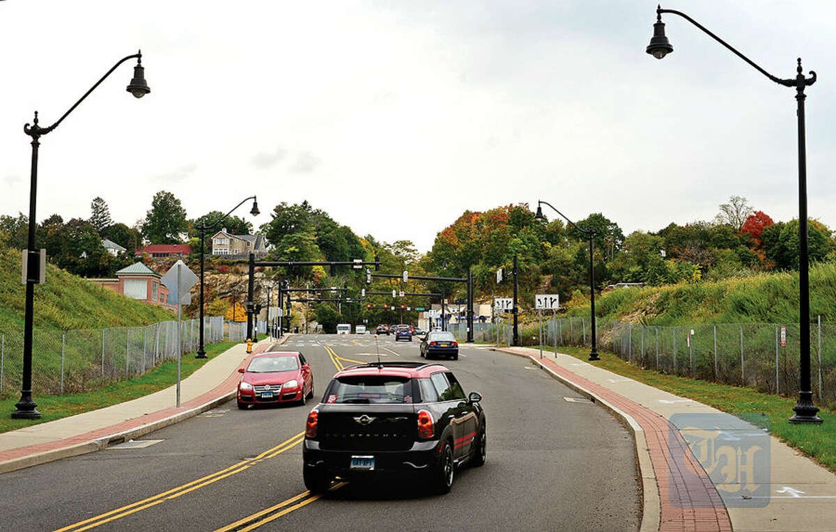 Hour photo / Erik Trautmann The proposed mall development may be built over this section of North Water St., from the Metro-North Danbury Line tracks to West Ave.