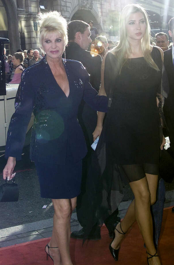 FILE - In this June 19, 2002 file photo, American socialite Ivana Trump and her daughter Ivanka, right, arrive for the premiere of the new Andrew Lloyd Webber musical, Bombay Dreams, in London. Ivanka Trump plays down her influence in her father's Republican presidential campaign, but the 33-year-old is a trusted and influential political adviser. (AP Photo/Max Nash, File)