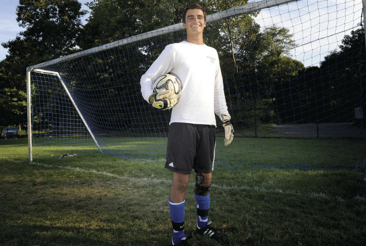 Photo by Matthew Vinci Will DeSantis, Wilton boys soccer goalkeeper. is following in the footsteps of his brother as the last line of defense for the Warriors' program.
