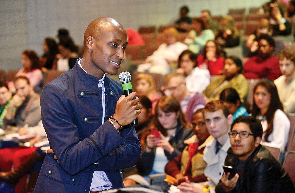 Rwandan genocide survivor, Daniel Trust, gives a motivational presentation at Norwalk Community College.