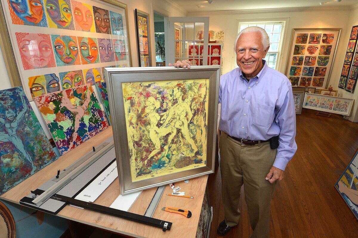Paper Towel artist Ken Delmar shows his latest piece 'The Dance Lesson' in his Stamford home.