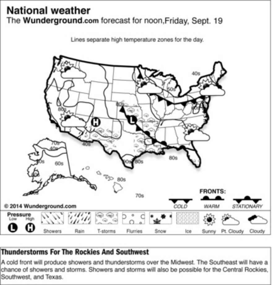 A cold front will produce showers and thunderstorms over the Midwest Friday Sept. 19, 2014. The Southeast will have a chance of showers and storms. Showers and storms will also be possible for the Central Rockies, Southwest, and Texas. (AP Photo/Weather Underground)