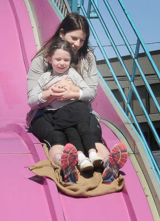 Meghan McClintock with her neice Madison 4 Sunday at the Wilton Rotary Carnival. Photo/Matthew Vinci