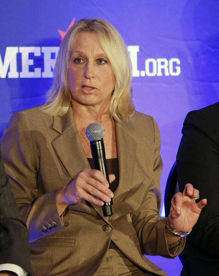 SMU head coach Rhonda Rompola speaks during the American Athletic Conference women's basketball media day, Monday, Oct. 26, 2015, in Orlando, Fla. (AP Photo/John Raoux)