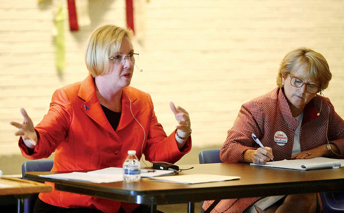 Democrat Deborah McFadden and her Republican opponent for first selectman, Lynne Vanderslice, outline their platforms in a Wilton Kiwanis Club forum.