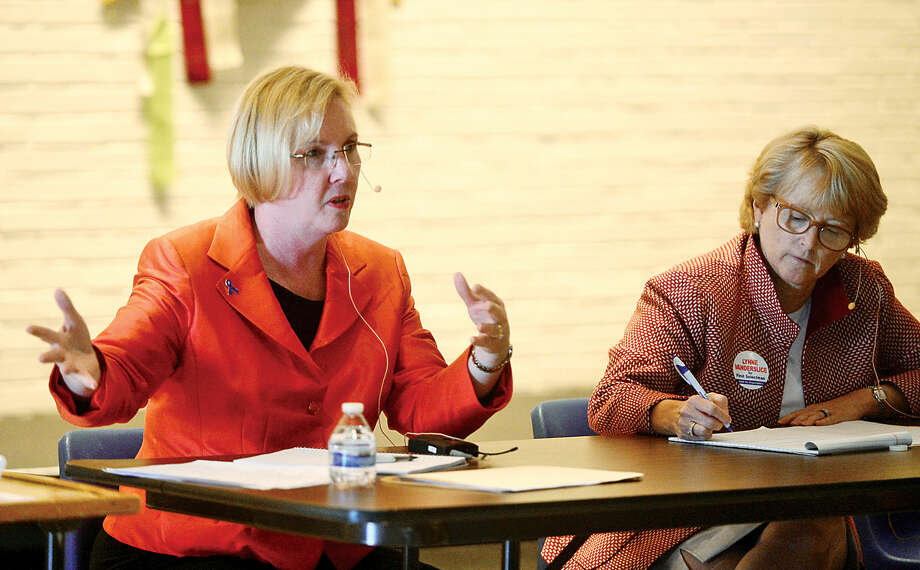 Democrat Deborah McFadden and her Republican opponent for first selectman, Lynne Vanderslice, outline their platforms in a Wilton Kiwanis Club forum.
