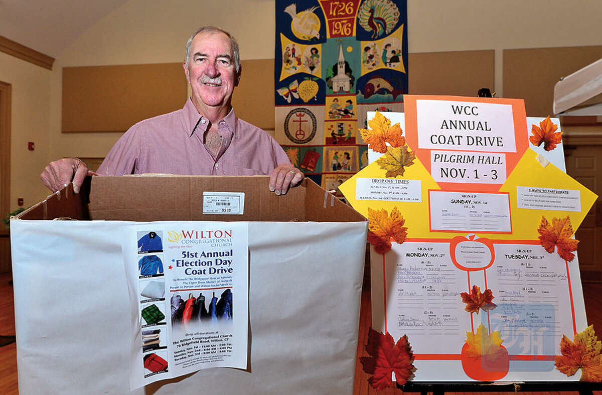 Giff Broderick, chairman of Wilton Congregational Church's Board of Mission and Service, readies for the church's 51rst annual Election Day Coat Drive.