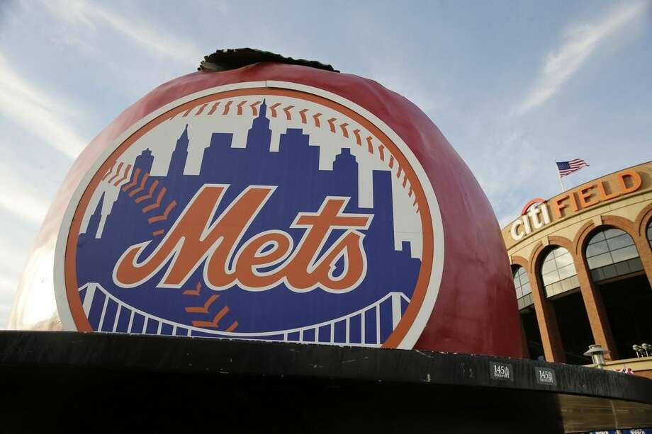 The New York Mets logo is displayed Citi Field before Friday's Game 3 of the Major League Baseball World Series between the Mets and the Kansas City Royals, Thursday, Oct. 29, 2015, in New York. (AP Photo/Peter Morgan)