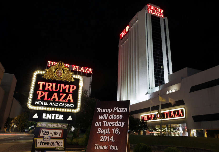 A sign seen early Tuesday, Sept. 16, 2014, announces the closing of Trump Plaza Hotel & Casino in Atlantic City, N.J. Trump Plaza's closing is the fourth Atlantic City casino to go out of business so far this year. About 8,000 Atlantic City casino workers have lost their jobs this year, and another 3,000 could join them if Trump Plaza's parent company makes good on its threat to shutter the Trump Taj Mahal Casino resort in November. (AP Photo/Mel Evans)