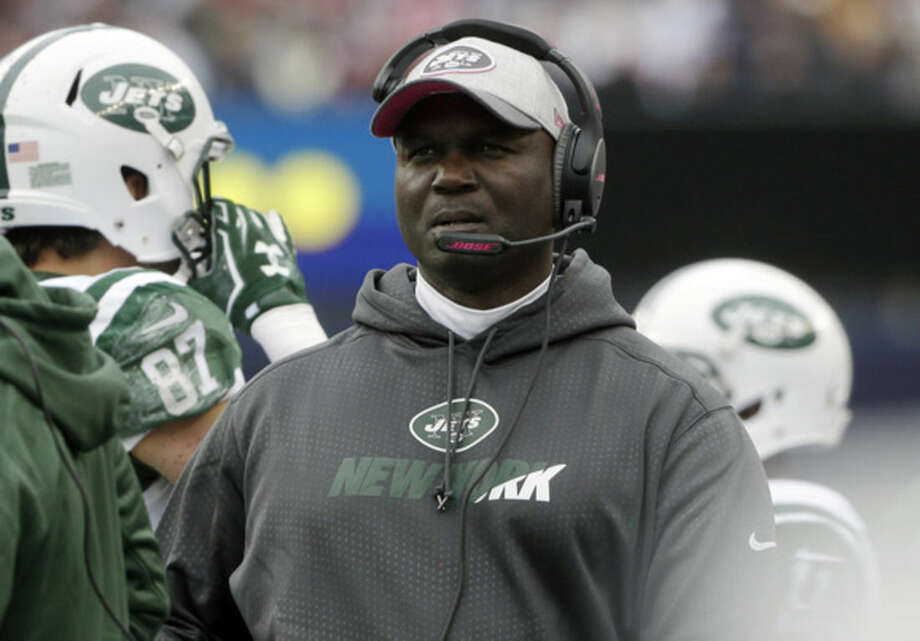 New York Jets head coach Todd Bowles watches action from the sideline during the first half of an NFL football game against the New England Patriots, Sunday, Oct. 25, 2015, in Foxborough, Mass. (AP Photo/Steven Senne)