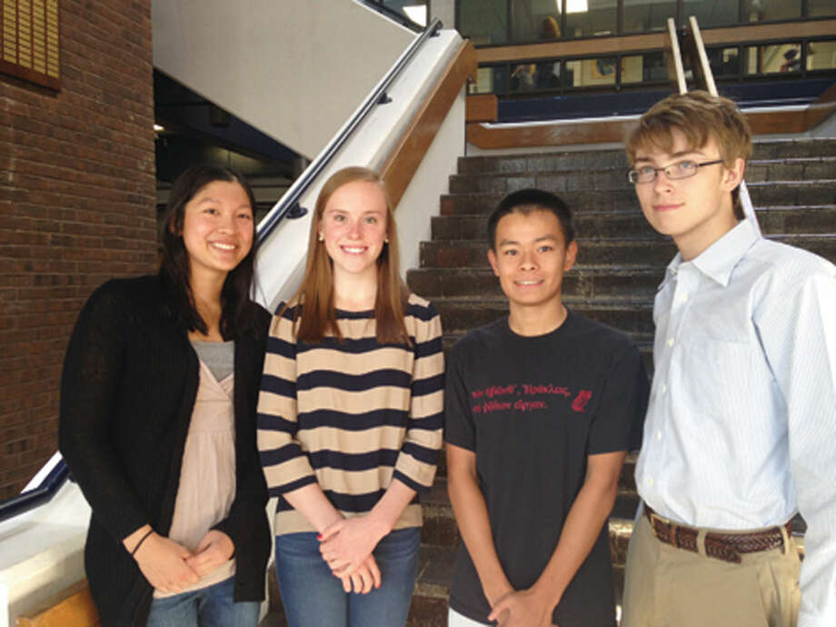 Pictured from left to right are National Merit Scholarship semifinalists: Evaline Xie, Grace Nickel, Daniel Xie and Jeremy Brewer. Not pictured: Kevin Shu.