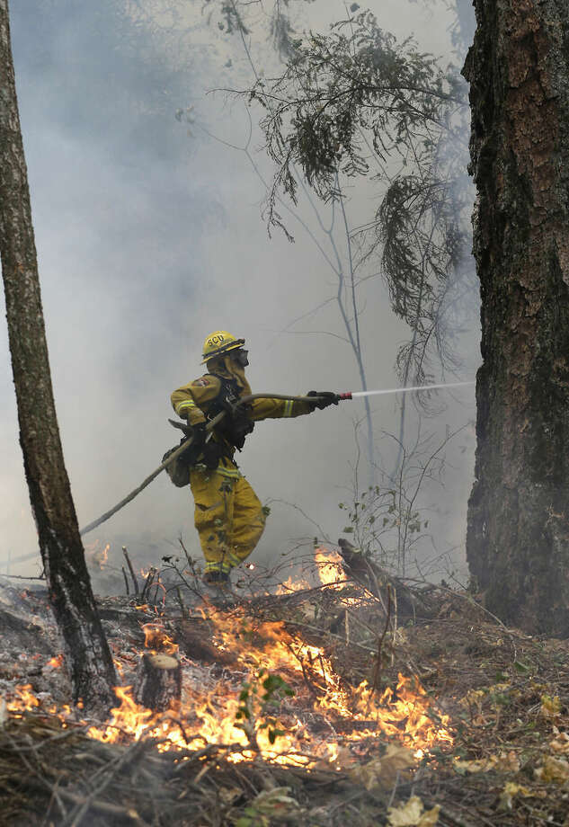 A firefighter puts water on flames approaching a containment line, while fighting the King fire near Fresh Pond, Calif., Thursday, Sept. 18, 2014. Authorities arrested Wayne Allen Huntsman, 37, Wednesday and has charged him with deliberately starting the Northern California wildfire that has burned more than 70,000 acres and is only 5 percent contained.(AP Photo/Rich Pedroncelli)