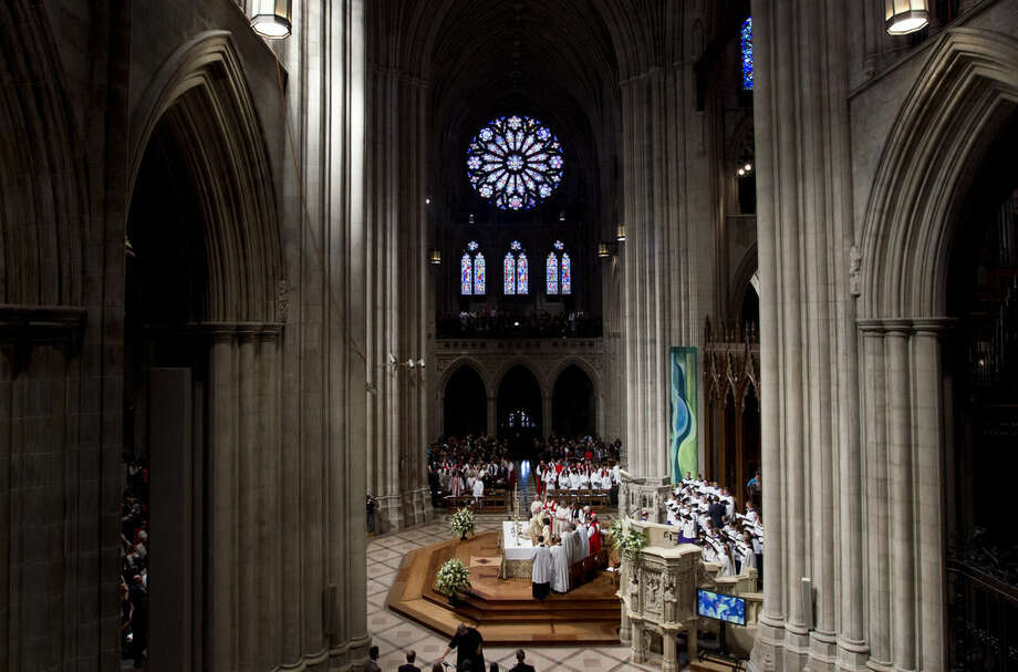 Episcopal Church Presiding Bishop Michael Curry speaks during Mass at the Washington National Cathedral, Sunday, Nov. 1, 2015, in Washington. Curry, who comes to the job after nearly 15 years leading the Diocese of North Carolina, was elected last summer to succeed Presiding Bishop Katharine Jefferts Schori, the first woman leader of the church. (AP Photo/Jose Luis Magana)