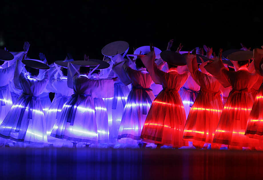 Artists perform during the opening ceremony for the 17th Asian Games in Incheon, South Korea,Friday, Sept. 19, 2014. (AP Photo/Lee Jin-man)