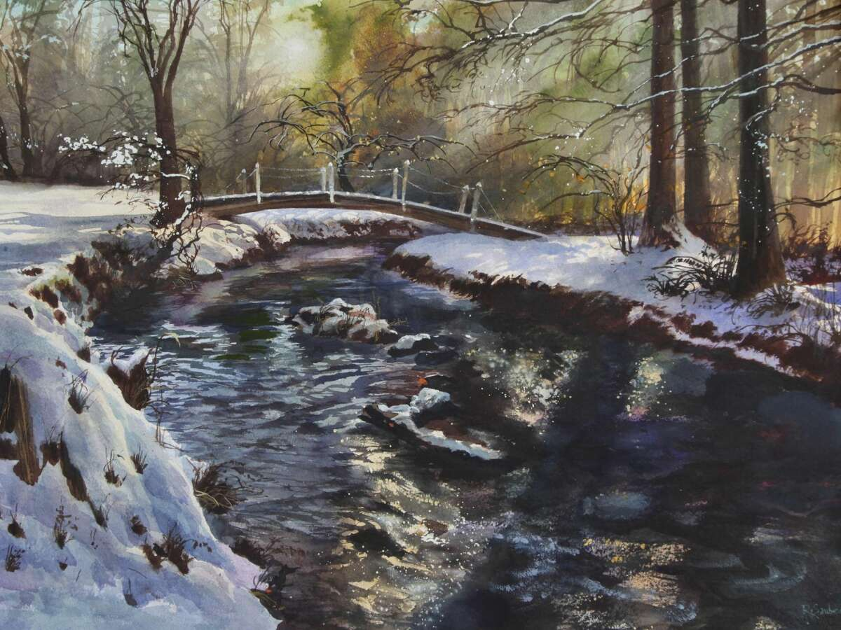"""Artist and illustrator Robert Sauber opens his """"Painted Worlds"""" art exhibition at Wilton Library on Friday, Nov. 6, from 6-7:30 p.m. """"Snow Bridge"""" (watercolor) is just one of the paintings on exhibit through Nov. 28. Proceeds benefit the library."""