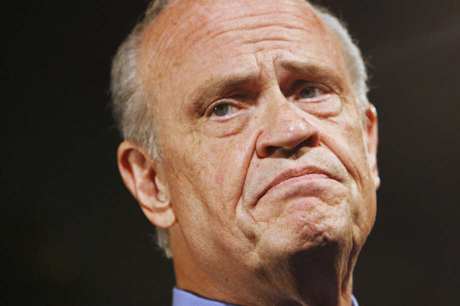 FILE - In this Oct. 5, 2007, file photo, Republican Presidential hopeful, former Tennessee Sen. Fred Thompson, pauses while addressing the Americans for Prosperity Foundation in Washington. Thompson died, Sunday, Nov. 1, 2015, in Nashville, Tenn., after a recurrence of lymphoma, his family said in a statement. He was 73. (AP Photo/Charles Dharapak, File)