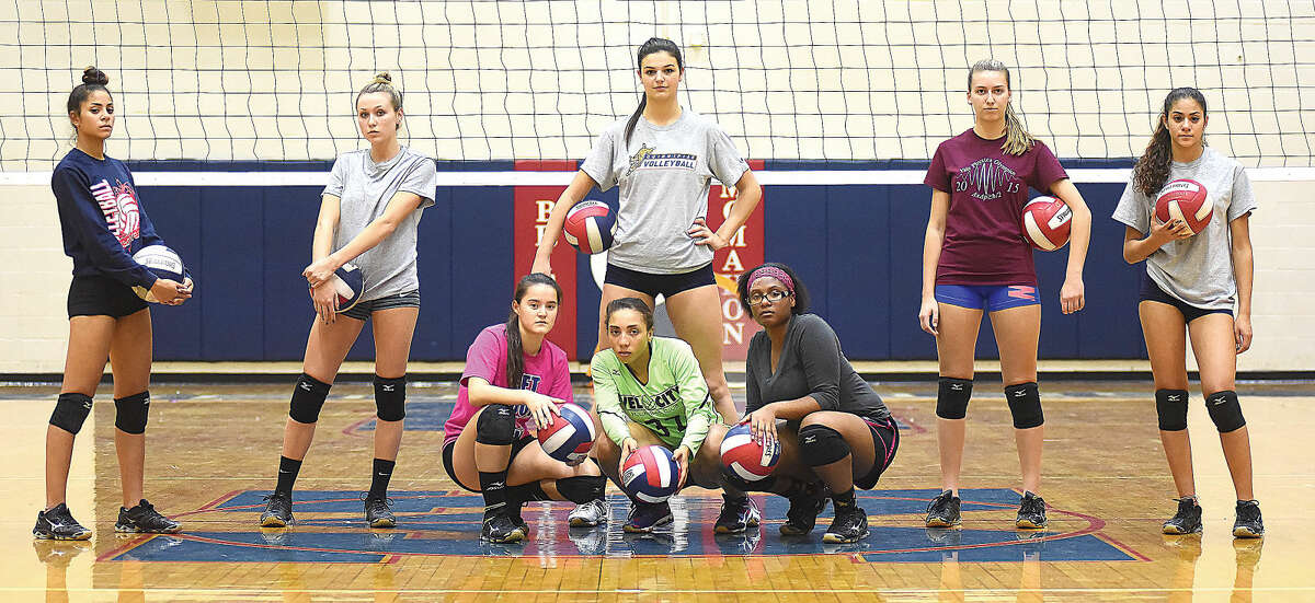 Key players for the 16-4Brien McMahon girls volleyball team, which is seeded fourth for Tuesday's FCIAC quarterfinals, are, back row from left, senior Liz Wimpfheimer, sophomore Taylor Morton, junior Meredith Pellegrino, junior Julita Przbylska, senior Deb Wimpfheimer, and front row, from left, sophomore Tes DeJaeger, senior Molly Fusarelli, and junior Tonya-Lee Coley. The Senators host No. 5 Greenwich on Tuesday at 5:30 p.m. in their first FCIAC postseason appearance since 1986. (Hour photo/John Nash)