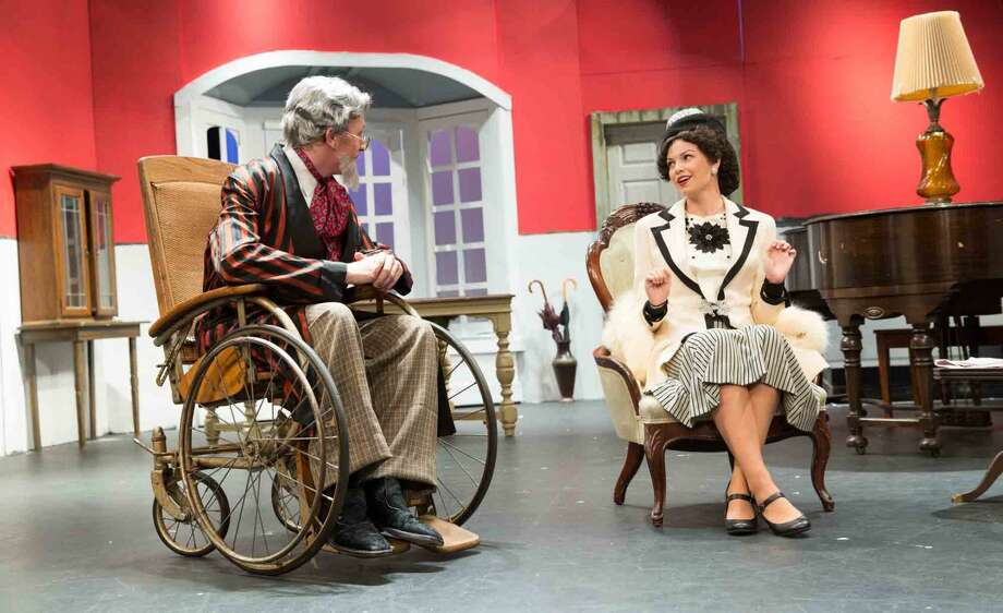 "Hour photo/Chris Palermo Harry Wendorff and Skyler Addison act in ""The Man Who Came to Dinner"" at Wilton High School."