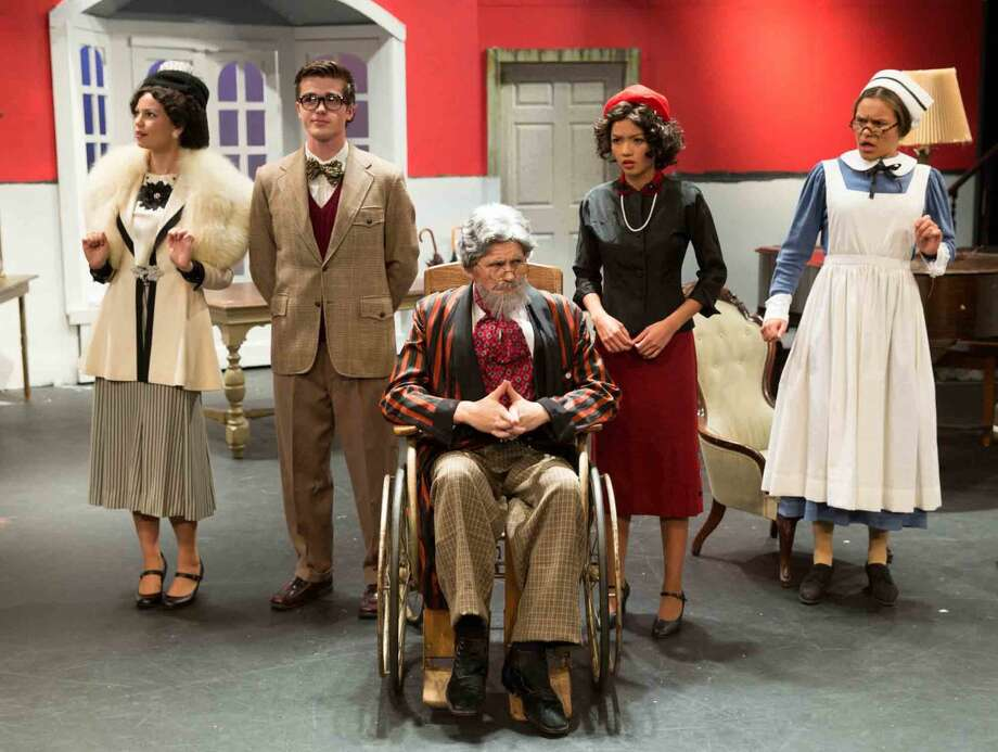 "Hour photo/Chris Palermo Skyler Addison, Ben Senneff, Harry Wendorff, Jackie Yee and Haley McHugh act in ""The Man Who Came to Dinner"" at Wilton High School."