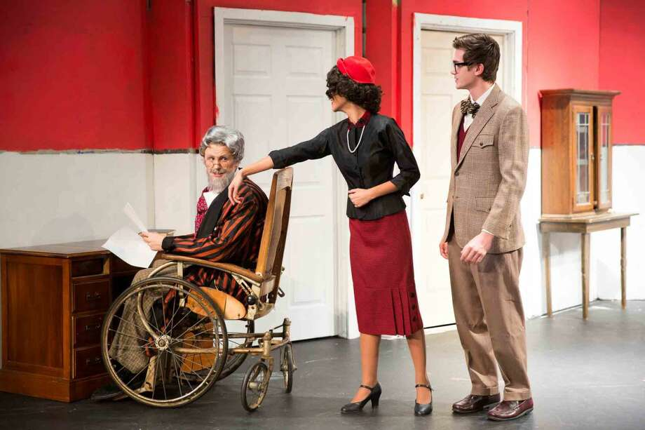 "Hour photo/Chris Palermo Harry Wendorff, Jackie Yee and Ben Senneff act in ""The Man Who Came to Dinner"" at Wilton High School."
