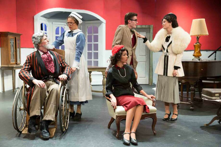 "Hour photo/Chris Palermo Harry Wendorff, Haley McHugh, Jackie Yee, Harry Wendorff and Skyler Addison act in ""The Man Who Came to Dinner"" at Wilton High School."