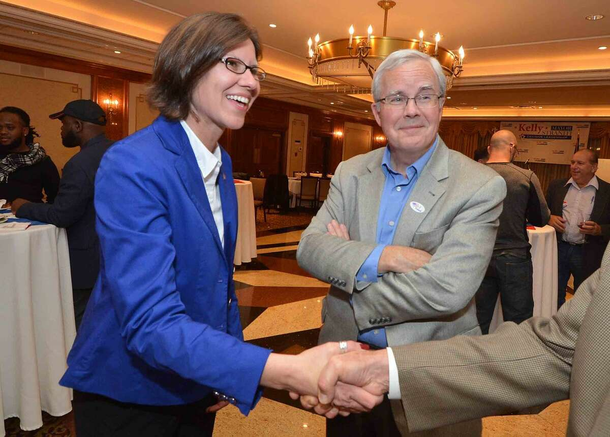 Hour Photo/Alex von Kleydorff Mayoral candidate Kelly Straniti and Mike Lyons on election night