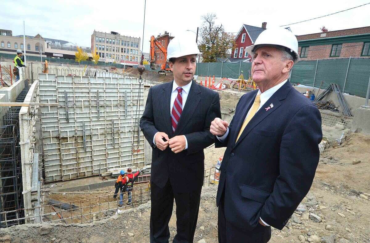 Hour Photo/Alex von Kleydorff Senator Bob Duff and Mayor Harry Rilling tour the Wall Street Place construction site