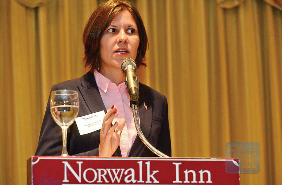 Hour photo / Erik Trautmann GOP challenger Kelly Straniti takes on Democratic incumbent Harry Rilling during a mayoral debate sponsored by The Greater Norwalk Chamber of Commerce at the Norwalk Inn and Conference Center Tuesday morning.