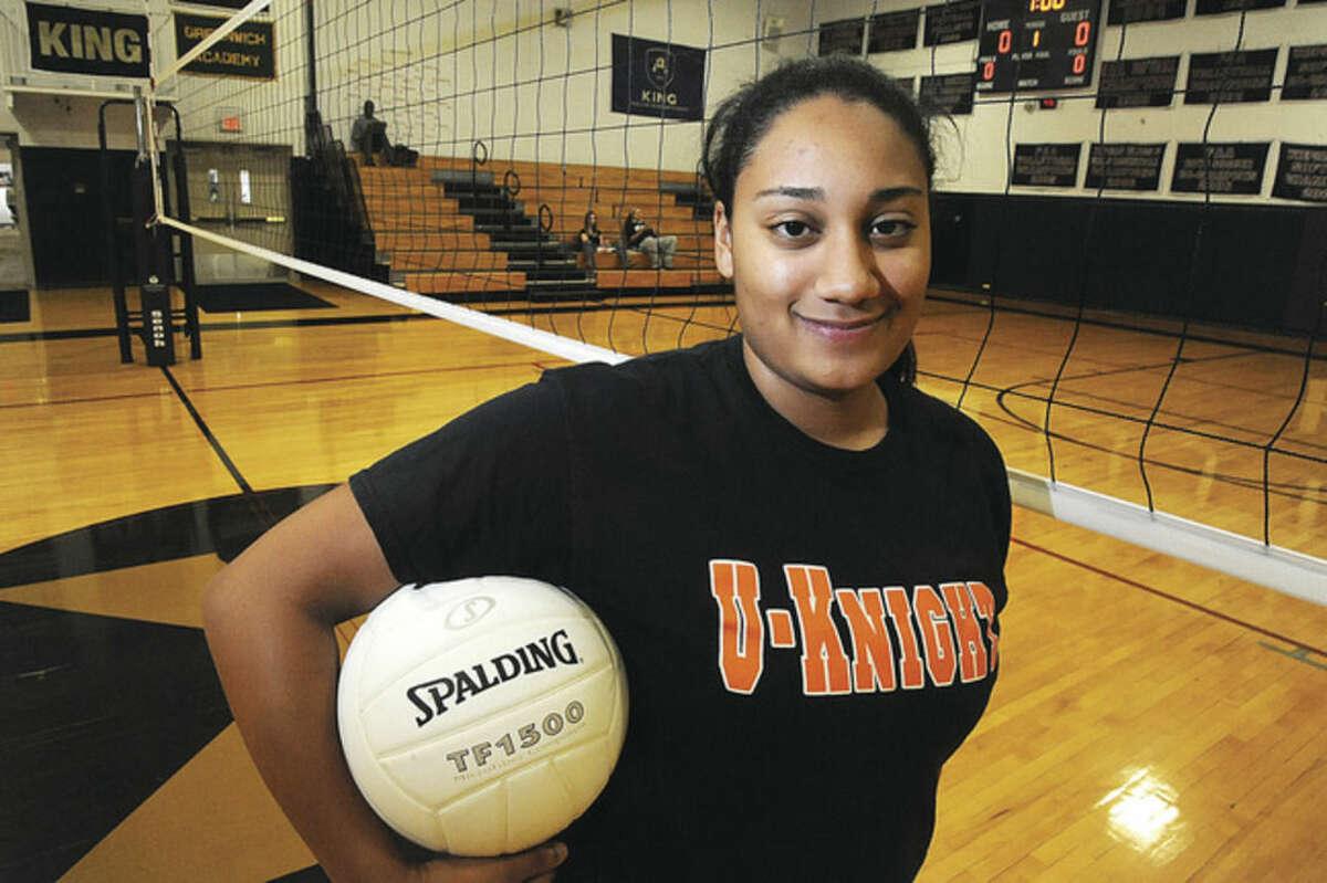 Stamford High volleyball player Jayla Wilson. Hour photo/matthew Vinci